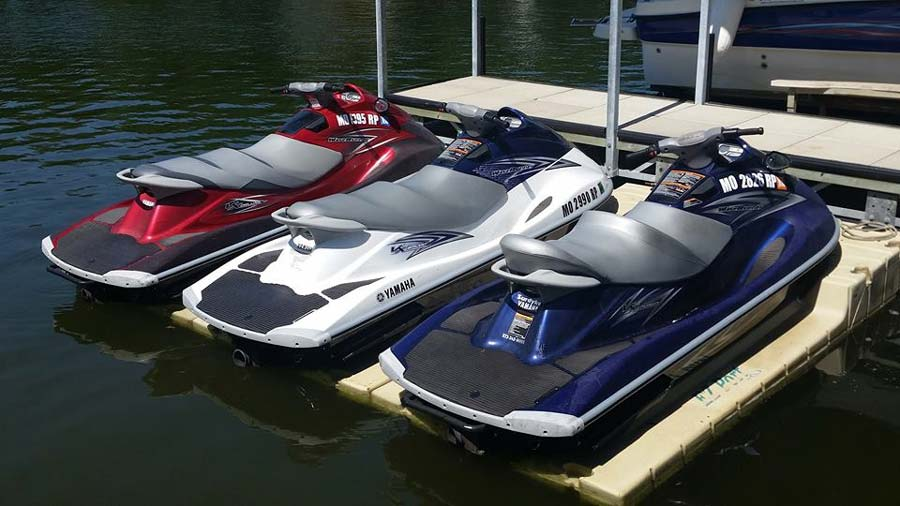 Red white and blue Adventure Boat Rentals waverunners